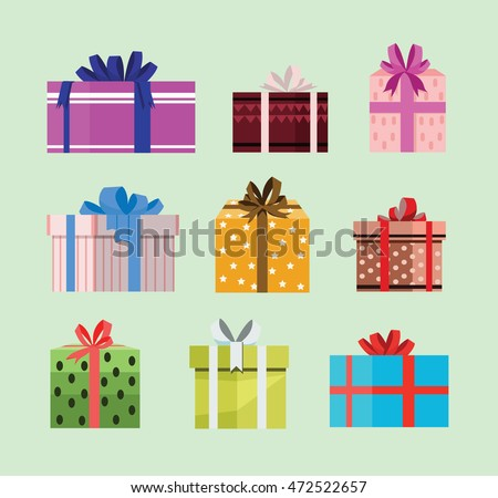 gift box birthday set present with different pattern. vector illustration 87