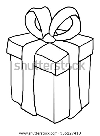 Gift box, black and white outline, vector illustration, isolated on white  - stock vector