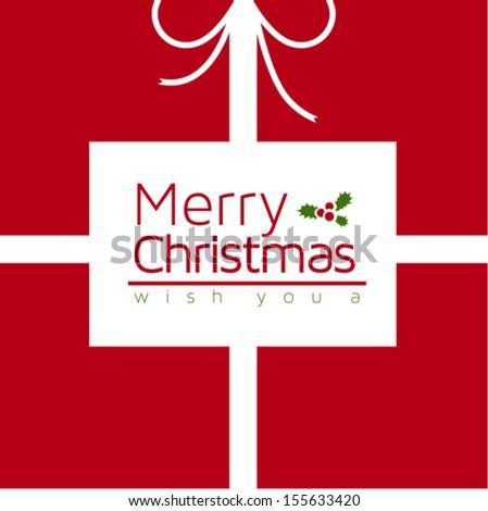 Gift box Christmas card - vector design - stock vector