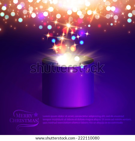 Gift box. Christmas lights. Vector illustration - stock vector