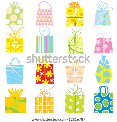 gift box collection - stock vector