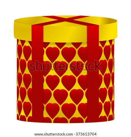 Gift box covered with red ribbons with a print of hearts - stock vector