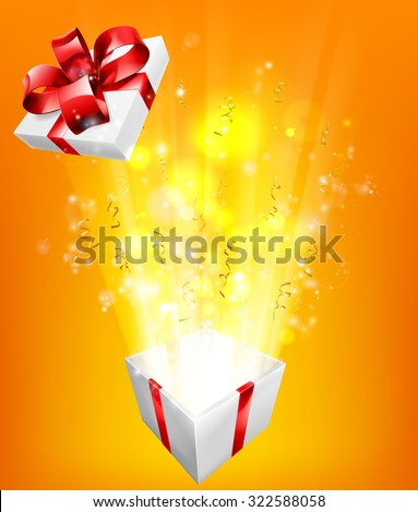Gift box explosion concept for an exciting birthday, Christmas or other gift or present. - stock vector