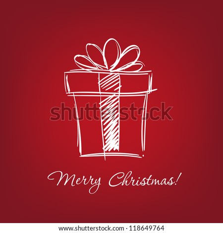 gift box - hand drawn  vector illustration  isolated - stock vector