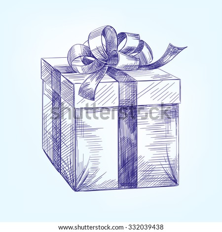 gift box  hand drawn vector llustration  realistic  sketch - stock vector