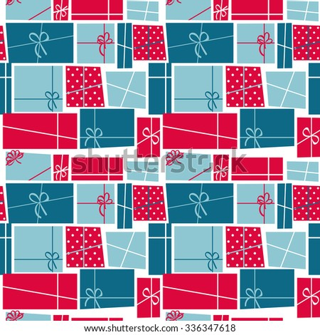 Gift Box Holiday Seamless Pattern Background Vector Illustration - stock vector