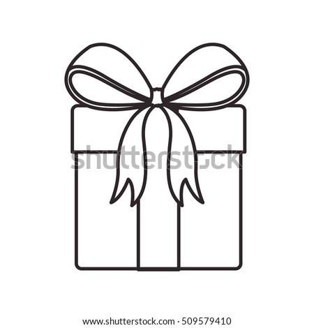Gift Box Ribbon Bow Icon Image Stock Vector 745972483
