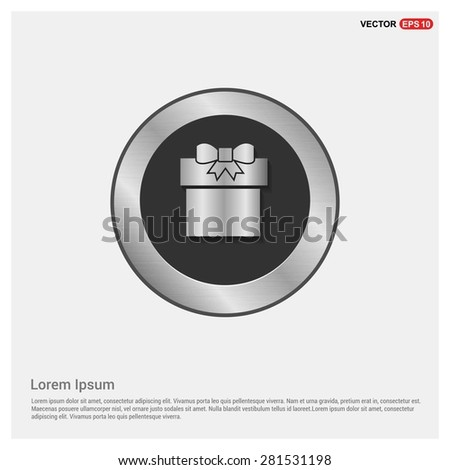 Gift Box Icon - abstract logo type icon - Realistic Silver metal button abstract background. Vector illustration - stock vector