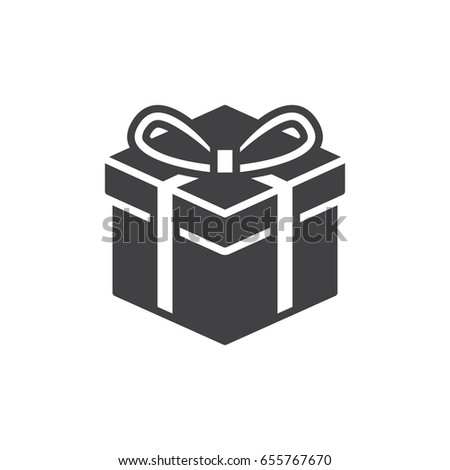 Gift box icon vector filled flat stock vector 655767670 shutterstock gift box icon vector filled flat sign solid pictogram isolated on white present negle Image collections