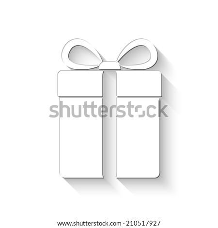 gift box icon - white vector illustration with shadow