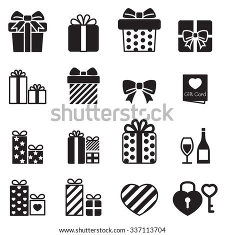 Gift box icons set on white background - stock vector