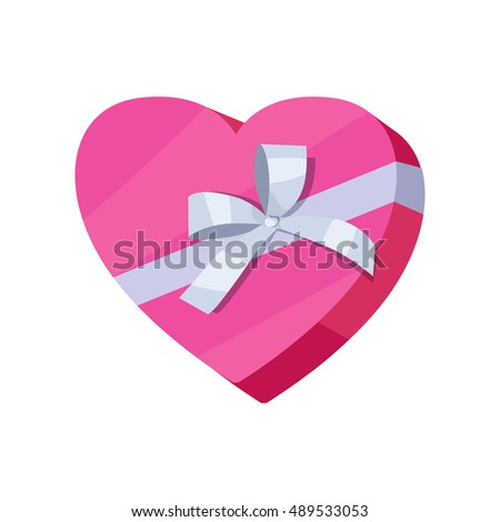 Gift box form heart vector icon 489533053 gift box in form of heart vector icon in flat style packaged with pink paper negle Gallery
