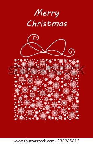 Gift box made from snowflakes and snow. Vector illustration for postcard, banner, poster, invitation, etc.