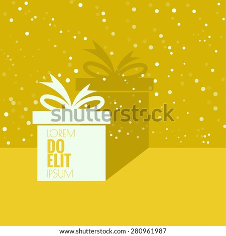 Gift box near wall with flat shadow and space for text. banners, graphic or website layout template. yellow