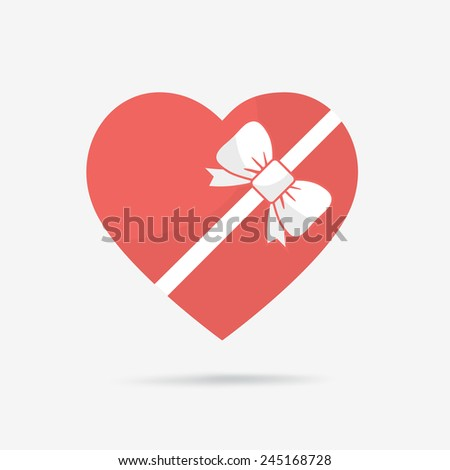 Gift box of heart tied with ribbon. - stock vector