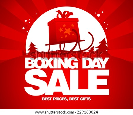 Gift box on a sled, Boxing day sale design. - stock vector