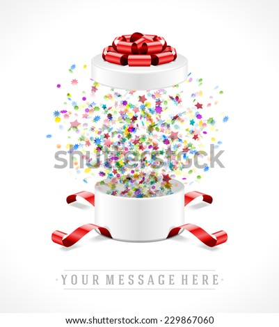 Gift box open and with bow and ribbon vector illustration. Fireworks sparkles and confetti. - stock vector