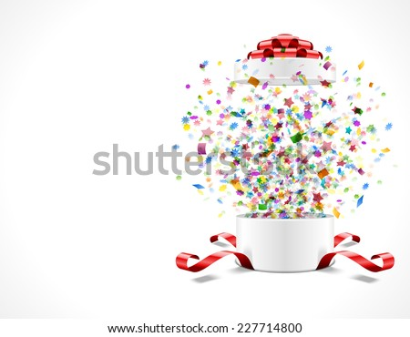 Gift box open and with red bow and ribbon vector illustration. Fireworks sparkles and colorful confetti. - stock vector