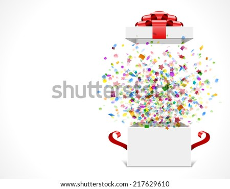 Gift box open and with red bow and ribbon vector illustration. Fireworks sparkles and confetti.  - stock vector