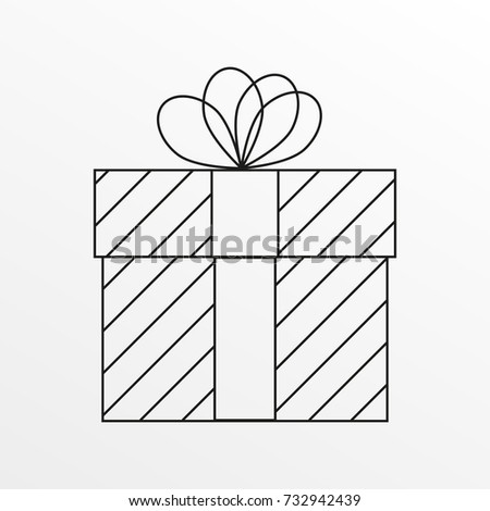 Gift Box Outline Icon Christmas Present Design Vector Illustration