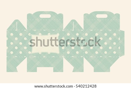 Gift box pattern. Template. Box design, die-stamping. Greeting packaging with pattern colorful hand drawn polka dots. Presents packing. Vector