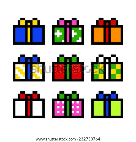 Gift box pixel art vector 232730764 shutterstock gift box pixel art vector negle Choice Image