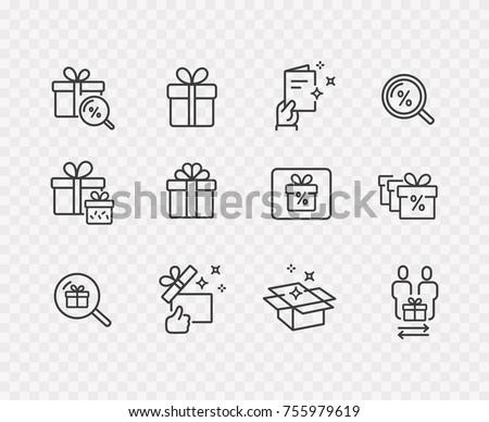 gift box present discount offer lineのベクター画像素材 755979619