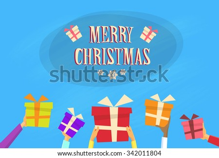 Gift Box Present Merry Christmas Happy New Year Banner Flat Vector Illustration - stock vector