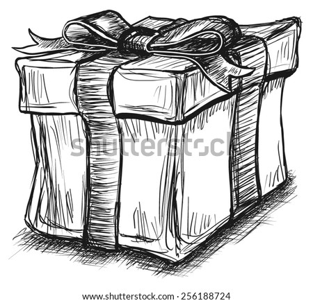 Gift Box Present Ribbon Bow Sketch Line Art Illustration Vector