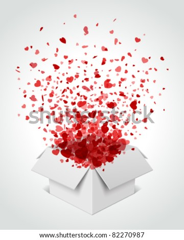 Gift box present with fly hearts Valentine's day vector illustration eps 10 - stock vector