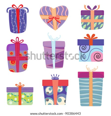 gift box set vector - stock vector