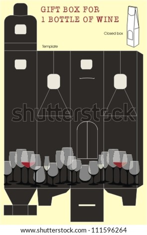 Gift box template for one bottle of wine. Design with glasses of wine. - stock vector