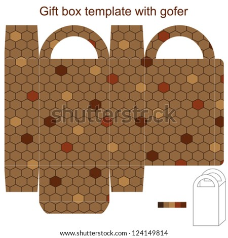 Gift box template with gofer - stock vector
