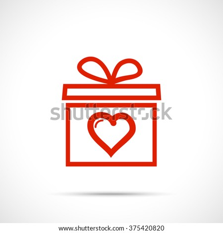 Gift box valentine with heart. Present with red ribbon bow. Valentine's day icon - stock vector