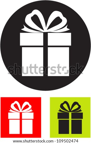 Gift box. Vector icon. - stock vector