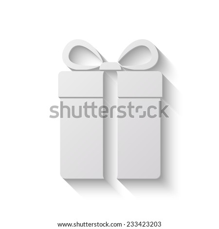 gift box vector icon - paper illustration on white background