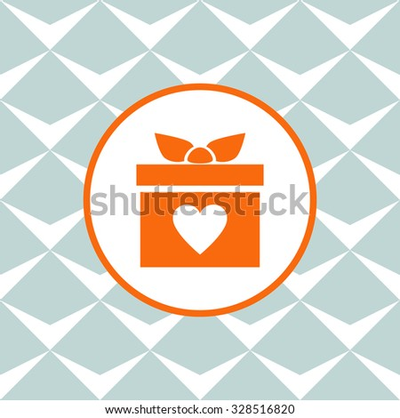 Gift box vector icon. Present with heart love icon. Seamless background with geometric design. - stock vector