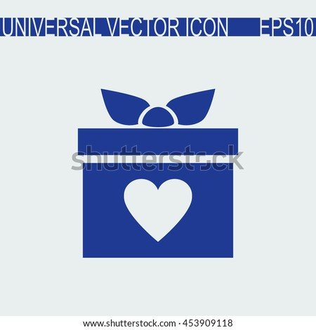 Gift box vector icon. Present with heart love sign. - stock vector