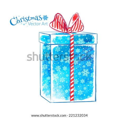 Gift box. Watercolor art. Vector illustration. Isolated. - stock vector