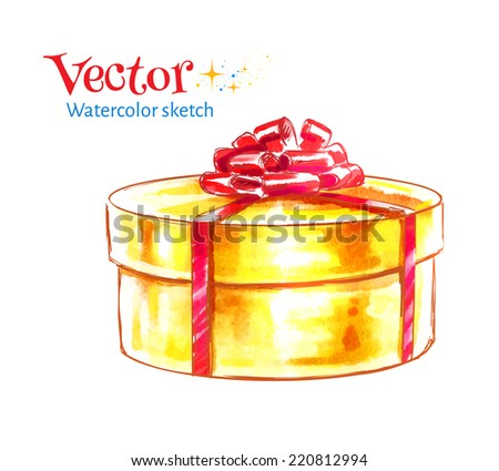 Gift box. Watercolor illustration. Vector, isolated. - stock vector