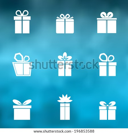 Gift box white icons set on blue background. Different styles. Holiday Presents. Vector illustration. - stock vector