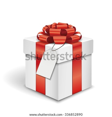 Gift box with a name tag over white background 3d illustration