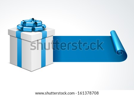 Gift box with blue bow isolated on white. Vector illustration eps 10.  - stock vector