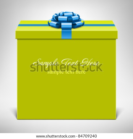 Gift box with blue bow. Vector background eps 10. - stock vector