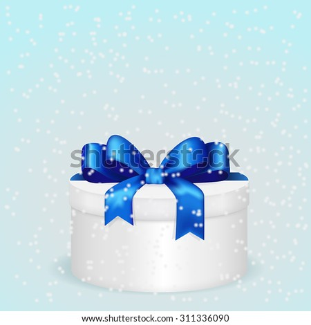 Gift box with Blue ribbon and snow on Winter background. Vector illustration