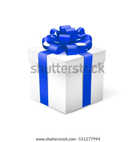 Gift box with blue ribbon isolated on white background. Vector illustration.
