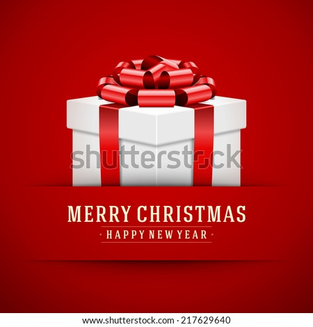 Gift box with bow and ribbon vector background. Merry Christmas message. - stock vector