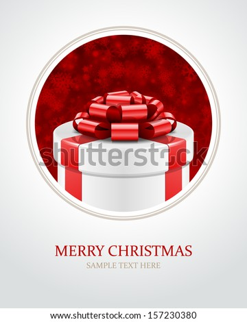 Gift box with bow. Christmas card or invitation. Vector background eps 10.  - stock vector