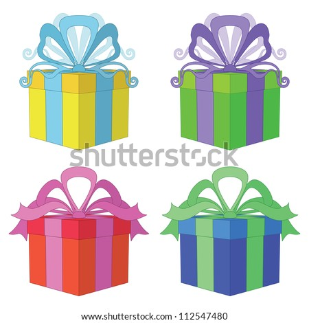 Gift box with bow, holiday symbol, color square package, isolated on white background, set. Vector - stock vector