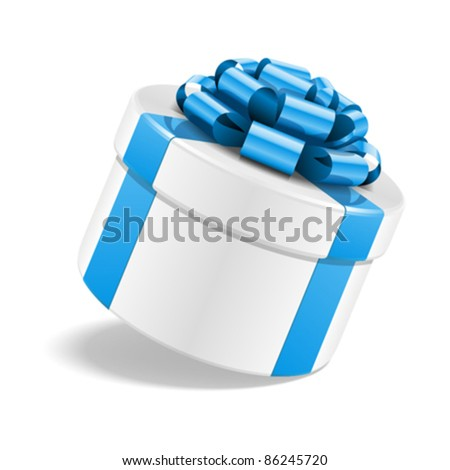 Gift box with bow isolated on white. Vector illustration eps 10.